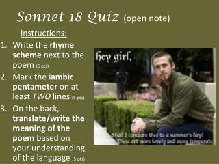 Sonnet 18 Quiz  (open note)