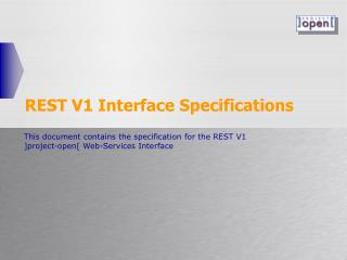 REST V1 Interface Specifications