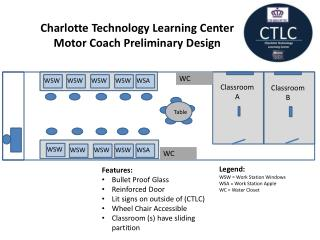 Features: Bullet Proof Glass Reinforced Door Lit signs on outside of (CTLC) Wheel Chair Accessible