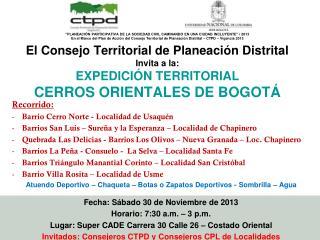 Recorrido: Barrio Cerro Norte - Localidad de Usaquén