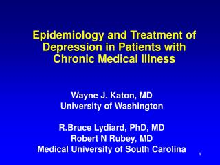 Epidemiology and Treatment of Depression in Patients with Chronic Medical Illness