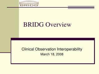 BRIDG Overview