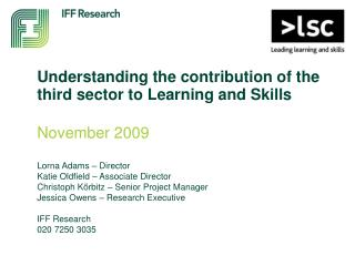 Understanding the contribution of the third sector to Learning and Skills