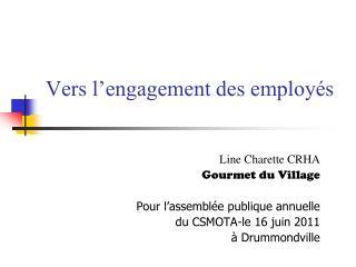 Vers l'engagement des employés