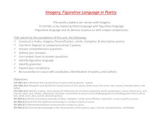 Imagery, Figurative Language in Poetry