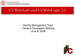 CUWebAuth and CUWebLogin 2.0