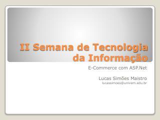 II Semana de Tecnologia da Informação