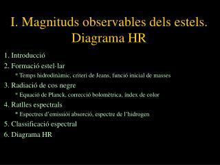 I. Magnituds observables dels estels. Diagrama HR