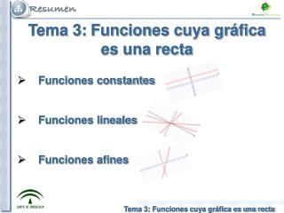 Tema 3: Funciones cuya gráfica es una recta     Funciones constantes     Funciones lineales