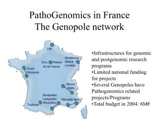 PathoGenomics in France The Genopole network