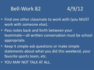 Bell-Work 824/9/12