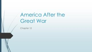 America After the  Great War
