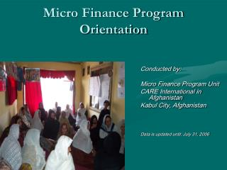 Micro Finance Program Orientation
