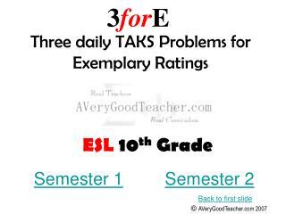 ESL  10 th  Grade