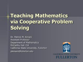 Teaching Mathematics via Cooperative Problem Solving