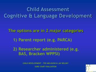 Child Assessment  Cognitive & Language Development