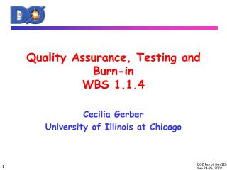 Quality Assurance, Testing and Burn-in WBS 1.1.4