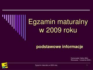 Egzamin maturalny w 2009 roku