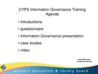 CYPS Information Governance Training Agenda