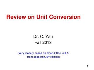 Review on Unit Conversion