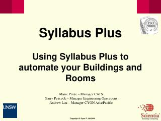 Syllabus Plus Using Syllabus Plus to automate your Buildings and Rooms
