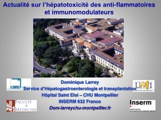 Actualit  sur l h patotoxicit  des anti-flammatoires et immunomodulateurs
