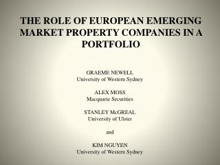 THE ROLE OF EUROPEAN EMERGING MARKET PROPERTY COMPANIES IN A PORTFOLIO