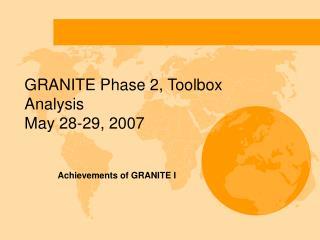 GRANITE Phase 2, Toolbox Analysis  May 28-29, 2007