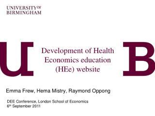 Development of Health Economics education (HEe) website