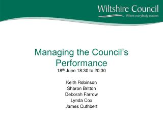 Managing the Council's Performance