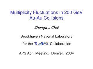 Multiplicity Fluctuations in 200 GeV Au-Au Collisions