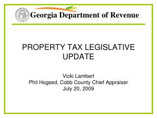 PROPERTY TAX LEGISLATIVE UPDATE