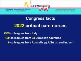Congress facts 2022  critical care nurses 1555  colleagues from Italy