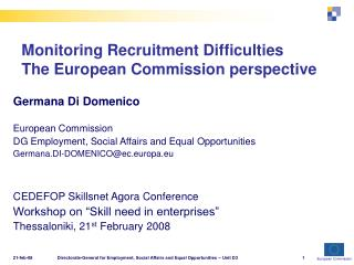 Monitoring Recruitment Difficulties The European Commission perspective