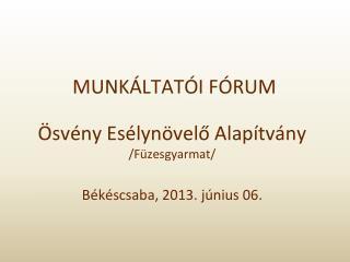 MUNKÁLTATÓI FÓRUM  Ösvény Esélynövelő Alapítvány /Füzesgyarmat/ Békéscsaba, 2013. június 06.