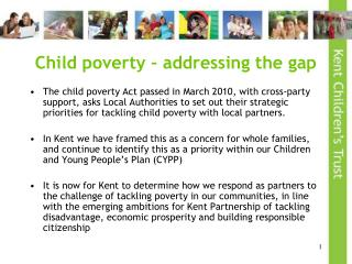 Child poverty – addressing the gap