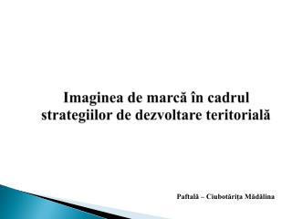Imaginea  de  marcă în cadrul strategiilor de dezvoltare teritorială