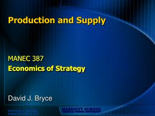 Production and Supply