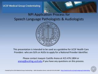 NPI Application Process for  Speech Language Pathologists & Audiologists