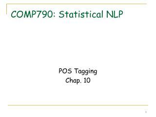 COMP790: Statistical NLP