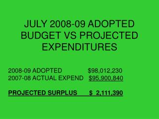 JULY 2008-09 ADOPTED BUDGET VS PROJECTED EXPENDITURES