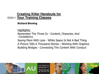 Creating Killer Handouts for  Your Training Classes