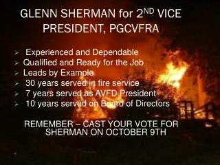 GLENN SHERMAN for 2 ND  VICE PRESIDENT, PGCVFRA