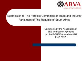 Submission to The Portfolio Committee of Trade and Industry