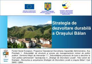 Strategia de dezvoltare durabilă a Orașului Bălan