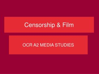 Censorship & Film