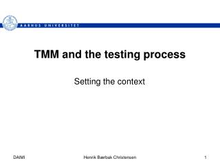 TMM and the testing process