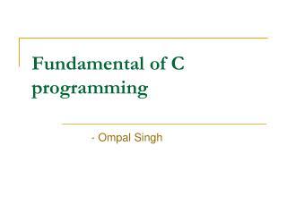 Fundamental of C programming