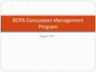 BCPS Concussion Management Program