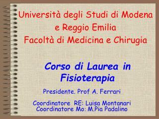 Universit  degli Studi di Modena e Reggio Emilia Facolt  di Medicina e Chirugia